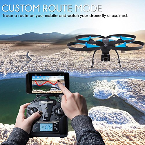 61sdVgiSrLL - SereneLife WiFi FPV Drone with HD Camera and live Video. Headless Mode Quadcopter, Altitude Hold, 1-Key Takeoff/Landing, Bonus Battery, Low Voltage Alarm, Custom Route Mode, 15 Minutes Flight Time