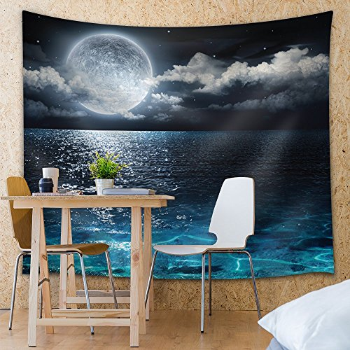 Crystal Blue Waters Beneath a Full Moon Fabric Tapestry