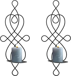 Dyna-Living Wall Sconce Elegant Wall Sconces Set of Two, Wall Hanging Sconce Candle Holder for Home Decor, Porch Yard Pathway Lighting (Black)