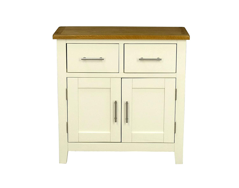 Nebraska Painted Oak Mini Sideboard/Cream Small 2 Door 2 Drawer Storage Dresser Cupboard Cabinet Unit