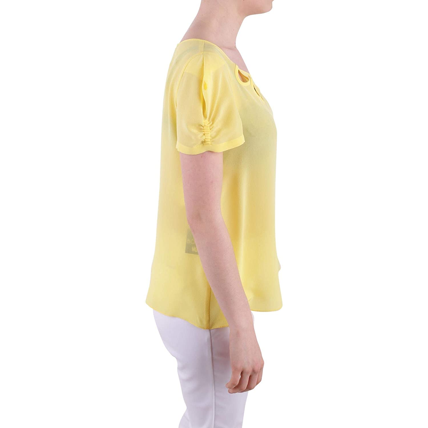 A0207083724 Amazon T Seda Amarillo Mujer Boutique es Shirt Moschino 0SqEEF
