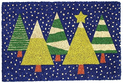 Cranberry Mats Designer Natural Coir Non Slip Doormat for Patio, Front Door, All Weather Exterior Doors (16 X 24 Inch, Blue with Christmas Tree) (Coir Christmas Door Mat)