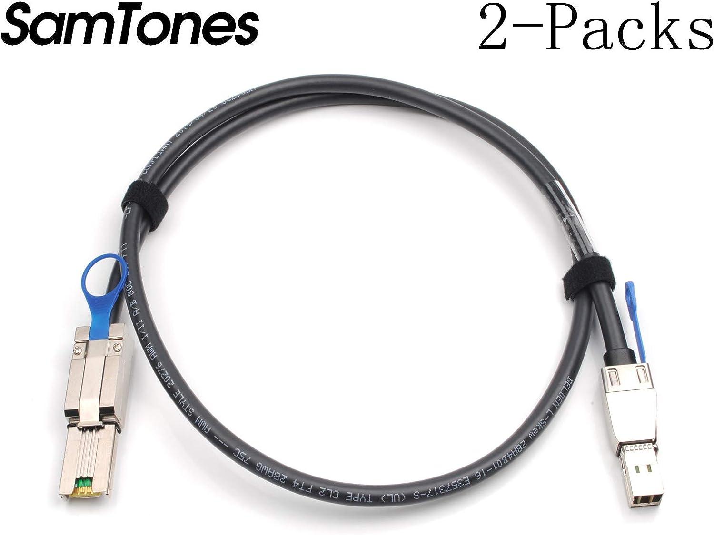 3.3ft 1-Meter SamTones 2-Packs External Mini SAS HD SFF-8644 to Mini SAS SFF-8088 Hybrid Cable