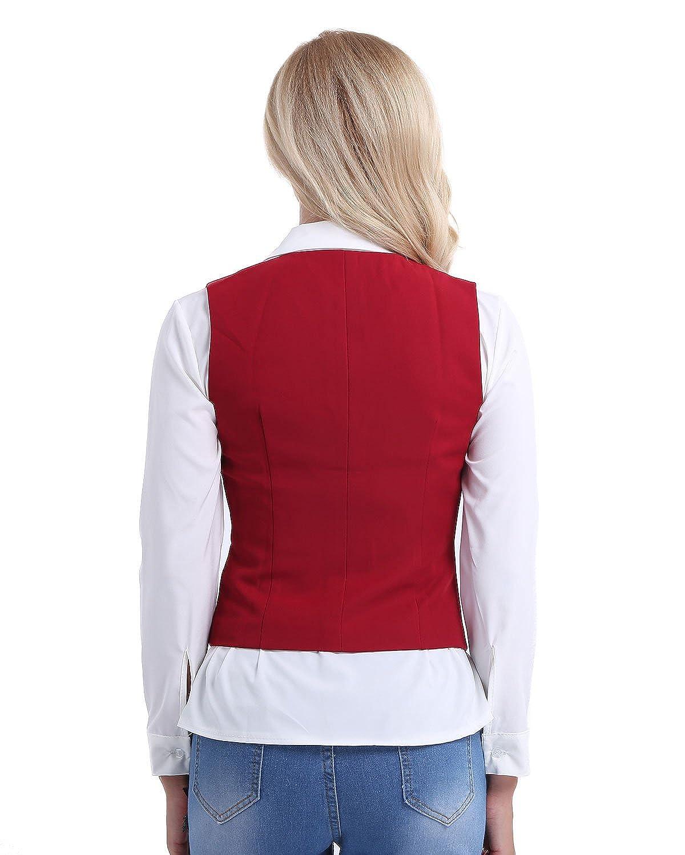 iiniim Womens Solid Formal Casual Suit Slim Fit Button Down Vest Waistcoat