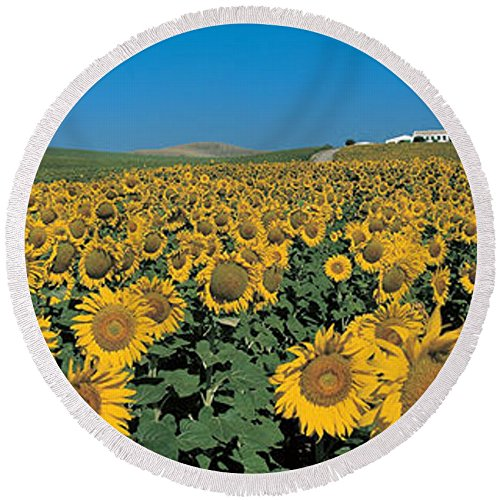 Pixels Round Beach Towel With Tassels featuring ''Sunflower Field Andalucia Spain'' by Pixels by Pixels