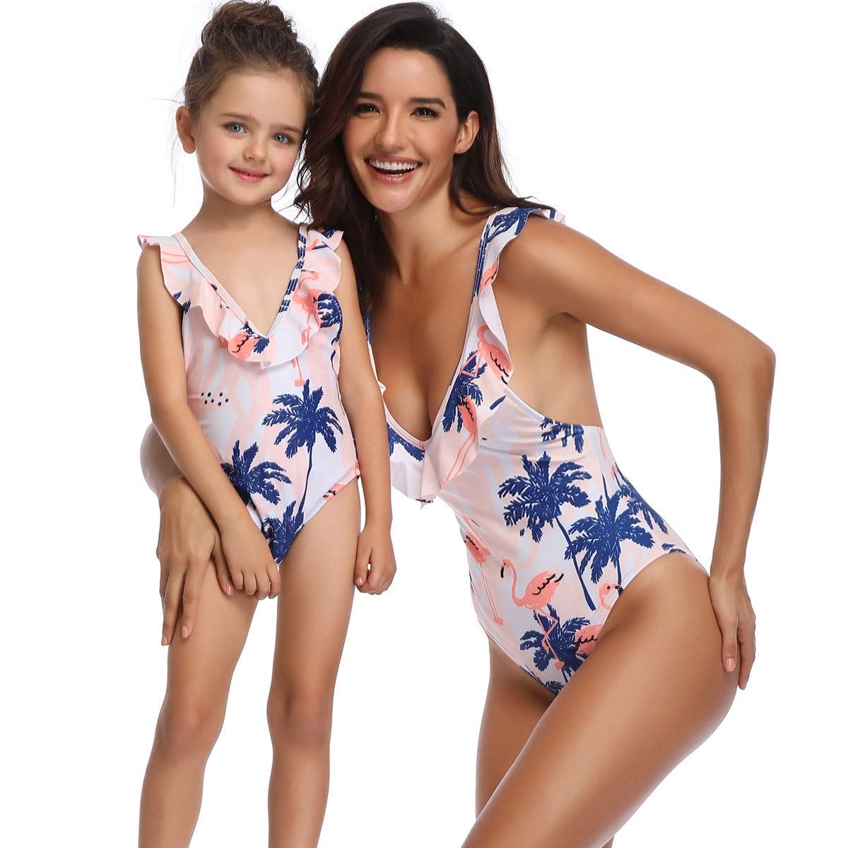 AIKSSOO Mommy and Me One Piece Swimsuit High Cut Low Back Ruffle Straps Bathing Suit