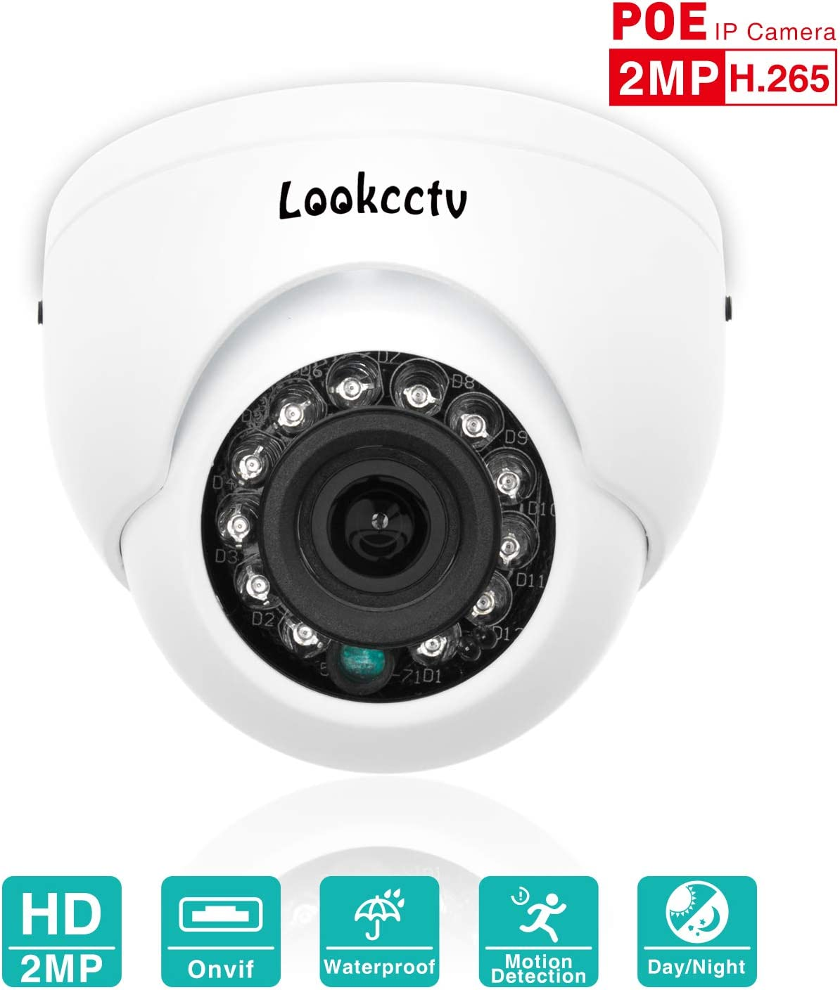 lookcctv IP Camera, 2MP Mini Dome POE Indoor Security Surveillance HD Camera Weatherproof,2.8mm Lens 33ft Night Vision IR Cut Day Night HD