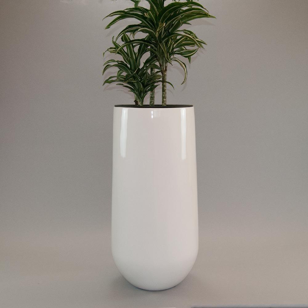 Blumenkübel Pflanzkübel Übertop Fiberglas rund konisch D38xH80cm hochglanz weiß.