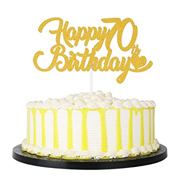 Happy 70th Birthday Cake Topper 70th Party Cake Decor Glittery Gold