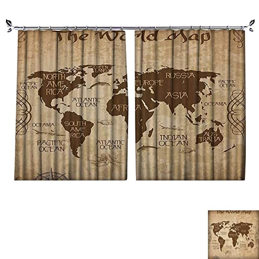 Amazon.com: DESPKON Curtain Outer Curtain Decor Ideas Oceans Ctinents Compass Old Glo Antiqued Students Gifts Tapestry Suitable for Living Room.