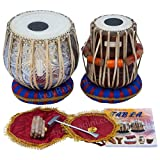 Maharaja Musicals Tabla Set, 3 Kilograms Designer Chromed Copper Bayan, Sheesham Dayan Tabla, Professional Delhi Tabla Drums, Padded Bag, Book, Hammer, Cushions, Cover, Indian Hand Drums (PDI-BEA)