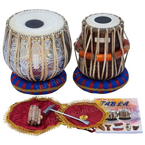Maharaja Musicals Tabla Set, 3 Kilograms Designer Chromed Copper Bayan, Sheesham Dayan Tabla, Professional Delhi Tabla Drums, Padded Bag, Book, Hammer, Cushions, Cover, Indian Hand Drums (PDI-BEA) by Maharaja Musicals