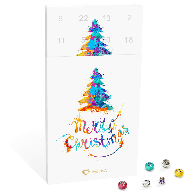 VALIOSA Mode de Joyas Calendario de Adviento, Merry Christmas 'con Collar, Pulsera + 22Individuales de Perlas Colgante de Cristal y Metal, Mujeres y niñas