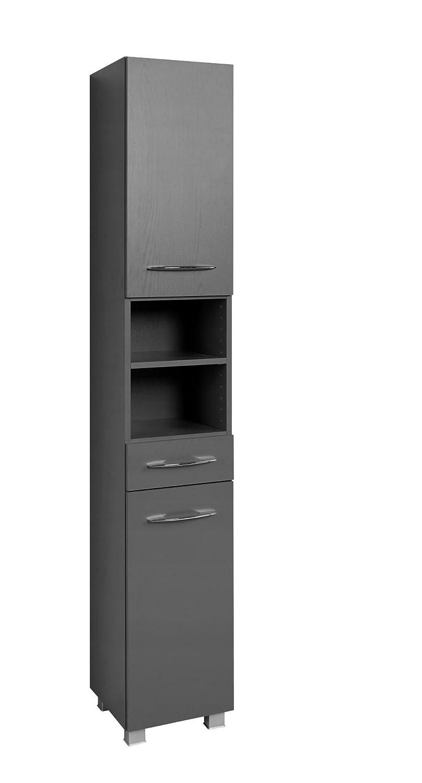 Held Möbel Portofino Seitenschrank 30, Holzwerkstoff, Graphitgrau, 35 x 30 x 185 cm