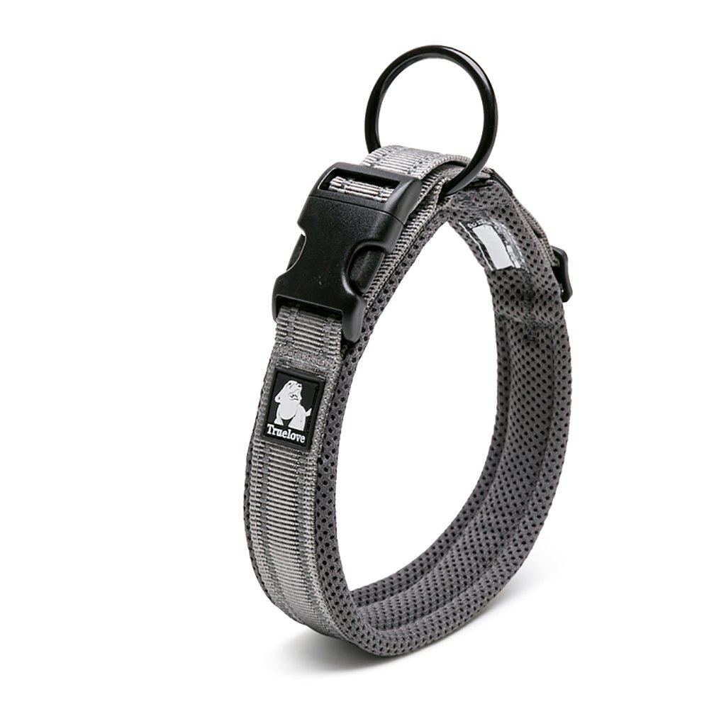 LUNA Adjustable Nylon Pet Collar Padded 3M Reflective Dog Collar with Ring (S, Gray) by LUNA (Image #1)