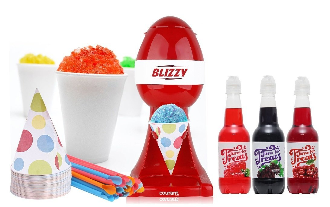 BLIZZY Snow Cone Maker & Syrup Set | Includes: (1) Blizzy Electric Ice Shaver (3) Different Snow Cone Syrup Flavors (20) 6 oz. Paper Cone Cups (20) Plastic Straws | Snow Cone Machine