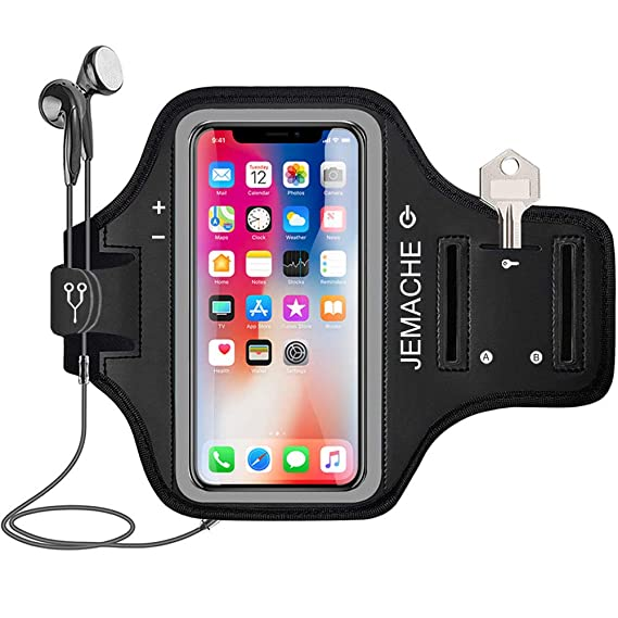 quality design 182fd bc1d9 iPhone X/Xs Armband, JEMACHE Water Resistant Gym Run Workout Arm Band for  Apple iPhone X/Xs (5.8