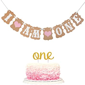 Winrase 1st Birthday Party Decoration I Am One Banner And Double Sided Gold Glitter