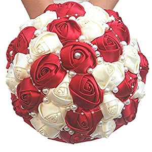"FYSTORE Hand Made Silk Rose Rhinestone Brooch Wedding Bridesmaids Bouquets Customization Pearls Bride Holding Flowers 21cm/8.2"" 55"