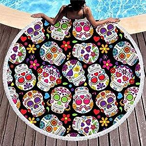Toalla de playa con diseño de calavera, redonda, grande, microfibra, hippie y bohemia, toalla de playa, alfombra para… | DeHippies.com