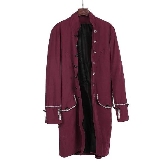 aliveGOT Mens Velvet Goth Steampunk Victorian Frock Coat Retro Halloween Costume