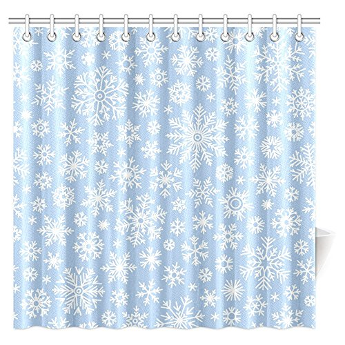 InterestPrint Christmas Shower Curtain Snowflake, Vintage Country Style Floral Circular Pattern Lace Ornamental Snowflake Design Bathroom Decor Set with Hooks, 72 X 72 - Shower Snow
