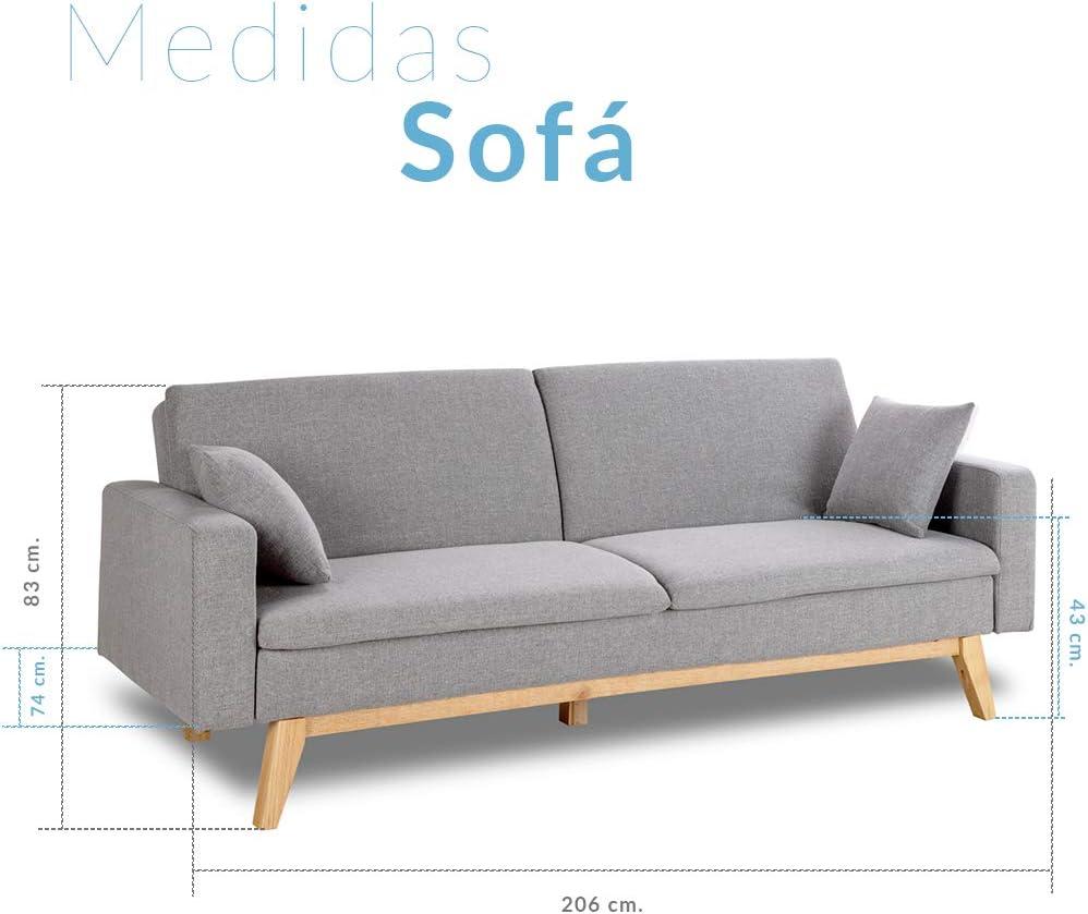 Don Descanso, Sofá Cama 3 plazas Reine, Tapizado en Tela, Color ...