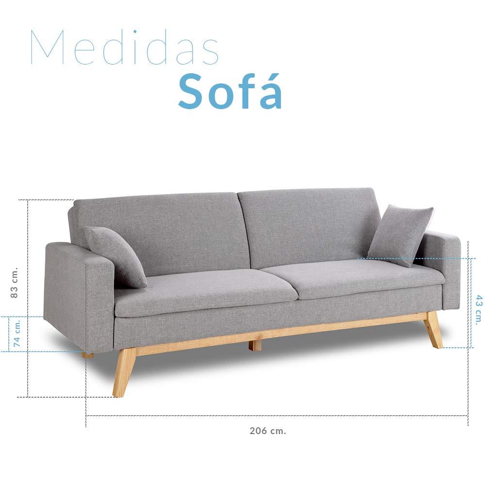 Don Descanso, Sofá Cama 3 plazas Reine, Tapizado en Tela, Color Gris Claro, Sistema Apertura de Libro o Clic-clac, Medida sofá: 206x74x83 cm, Medida ...