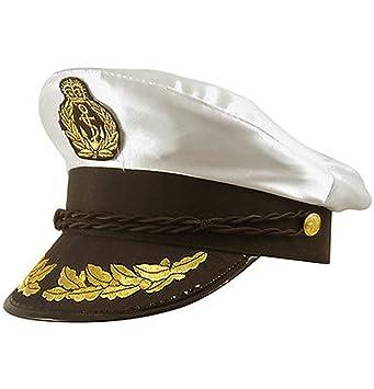 CAPTAIN HAT WHITE SATIN YACHT BOAT NAVY ADULT CAP SAILOR COSTUME HAT FANCY  DRESS c1fd0243493a