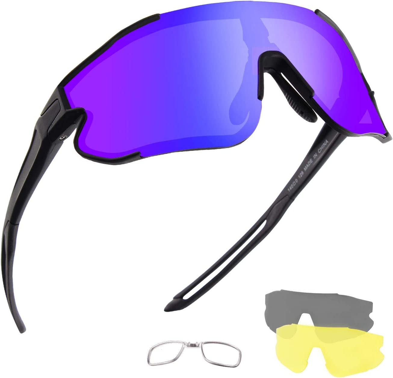 OULAIQI Polarized Sports Sunglasses Cycling Sunglasses for Men Women with 3 Interchangeable Lenses Baseball Glasses