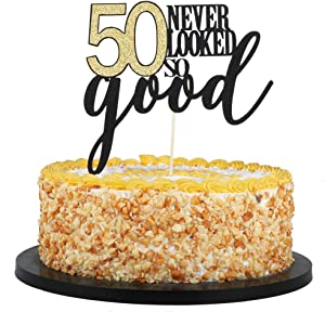 QIYNAO Happy Birthday Cake Topper 50th Birthday Cake Topper 50 Never Looked so Good,Wedding,Anniversary,Birthday Party Decorations (50th)