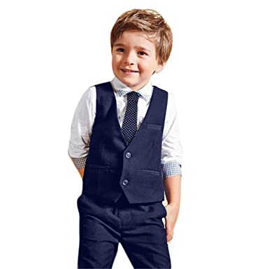 OverDose Boys 4PCS Outfit Wedding Suits White Shirt Waistcoat Trousers Tie