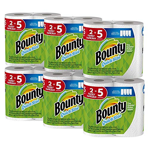 Bounty Quick-Size Paper Towels, White, Family Rolls, 12 Count (Equal to 30 Regular Rolls) (Perforated White Paper Towel)