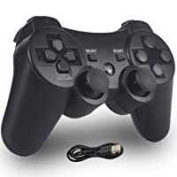 PomisGam Wireless Gamepad for PS3 Controller for Playstation 3 Bluetooth Double Shock Joystick with SIX AXIS,Charge Cord