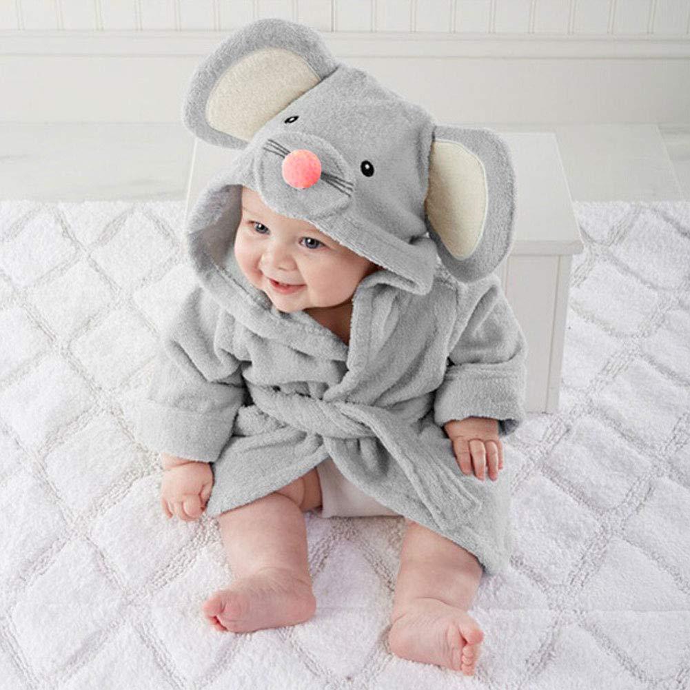 toalla de ba/ño con capucha para beb/é de alta calidad suave y c/ómoda dise/ño de dibujos animados small gris Baby Pajamas