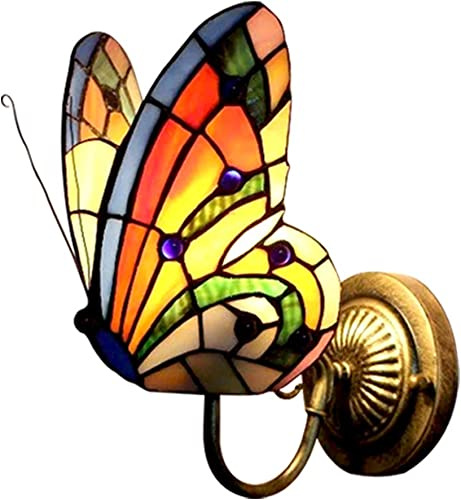 Tiffany Wall Lamp Butterfly Color Glass Mirror Front Lights Bedroom Beside Lamp Gold