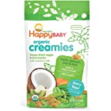 Happy Baby Organic Creamies Freeze-Dried Veggie & Fruit Snacks with Coconut Milk, Apple, Spinach, Pea & Kiwi, 1 Ounce (Pack of 8) Packaging may vary