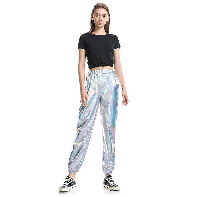 pantalón deportivo para mujer, brillante, metálico, aspecto mojado, estilo hip hop, holográfico, cintura alta, elástico