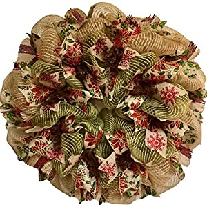 Christmas Ribbon Wreath Natural Burlap and Green Deco Mesh 4