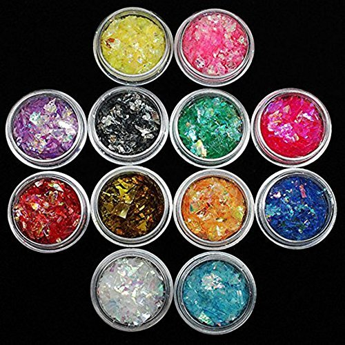 (QIMYAR 12 Colors Nail Glitter Ice Mylar Shell Foil Slice Nail Art Decoration Tools (12 color))