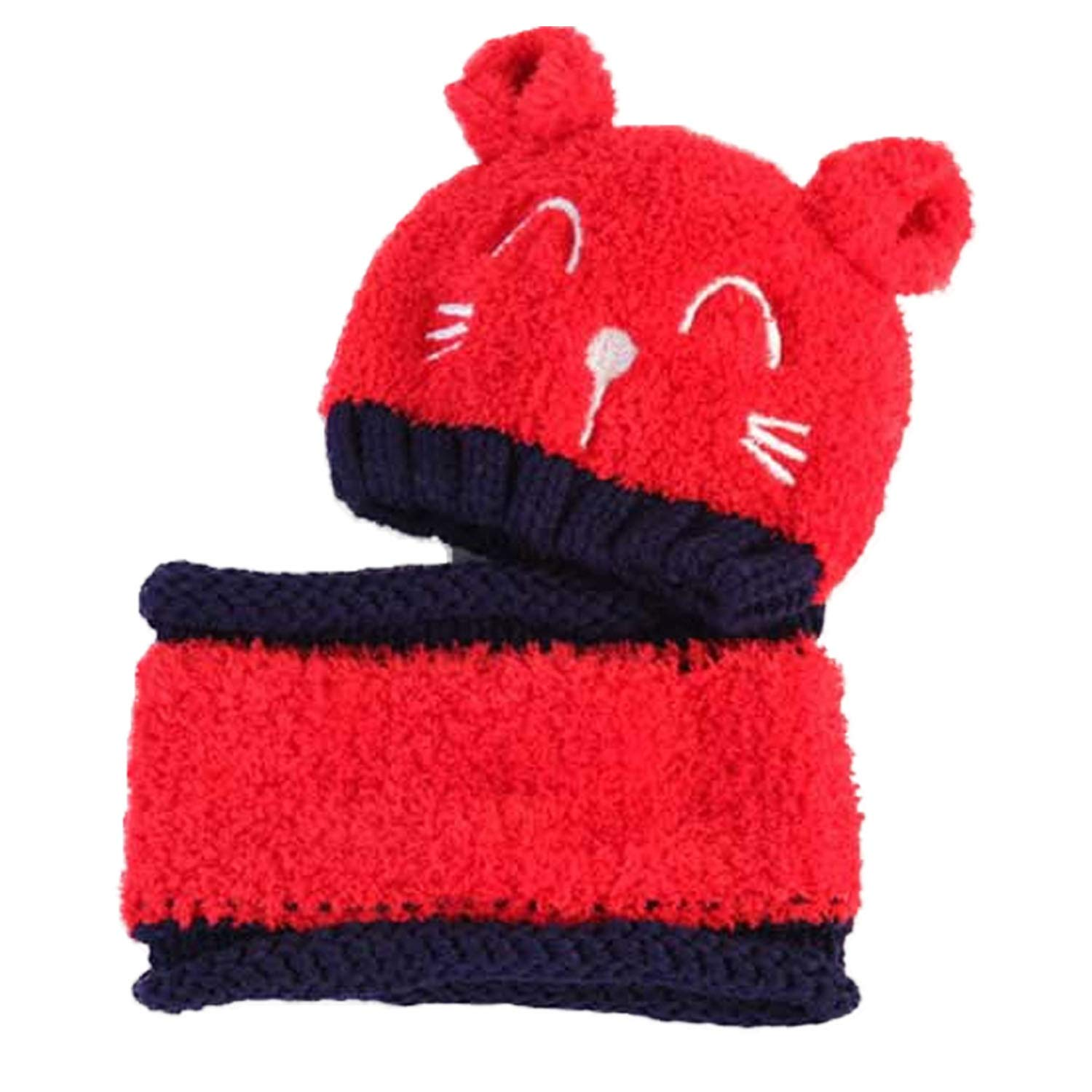 2pcs Baby Infant Cute Winter Warm Soft Cat Knit Beanie Hat Cap with Circle Scarf for 8-36 Month Toddler Girls Boys