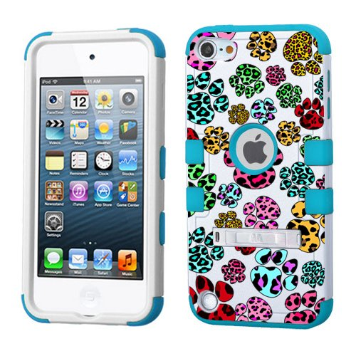 Leopard Ipod Case (iPod touch 5th 6th Generation Leopard Animal Footprints Case, 3-Piece Style Hybrid Hard Cover for Apple- For Girls And Boys-Shockproof Dustproof with Stand (Leopard Patterns Animal Footprints))