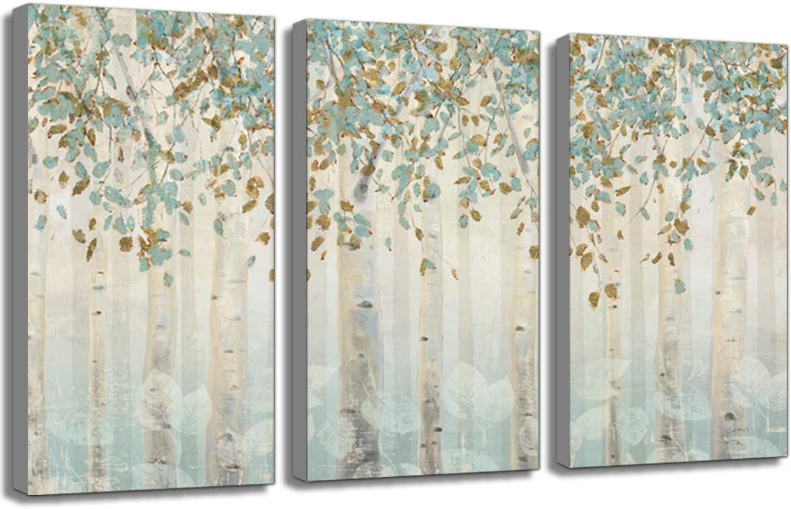 Abstract Tree Picture Wall Artwork Green Brown Forest Landscape Picture Prints Rustic Modern Birch Trees Nature Woods Abstract Painting Artwork Size 3PK-15x30inches