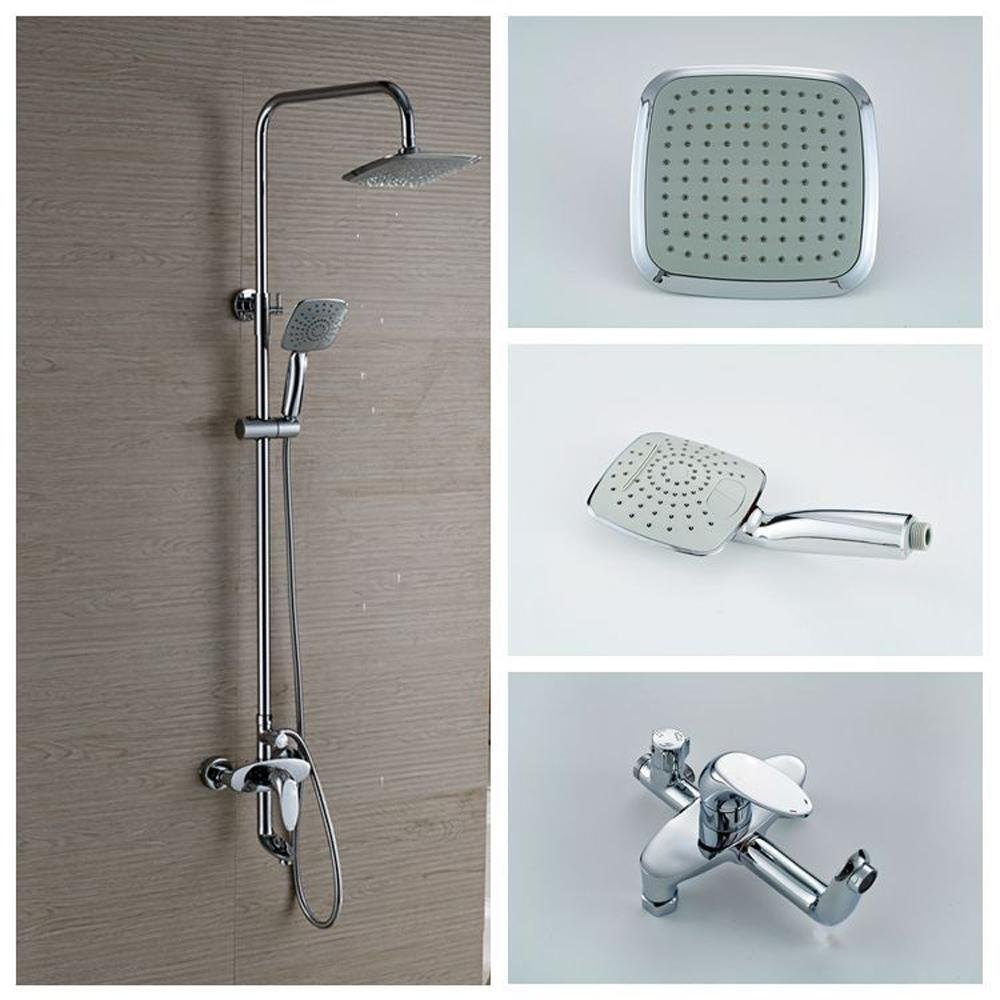 KHSKX Modern waterfall shower sets copper lifting square shower hand shower and the faucet