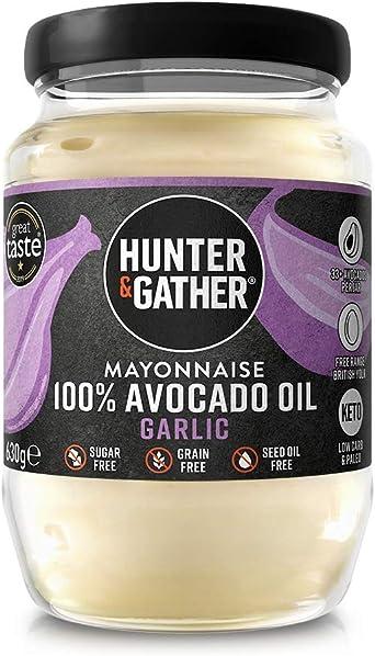 Hunter & Gather Mayonesa de Aceite de Aguacate con Ajo y Pimienta Negra 630g | Hecho con Aceite de Aguacate y Yema de Huevo de Gallina Campera Inglesa ...