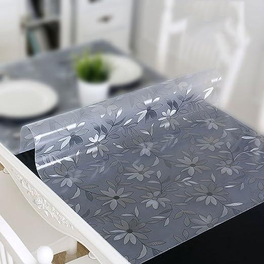 QSEVEN Mantel rectangular de plástico transparente, PVC ...