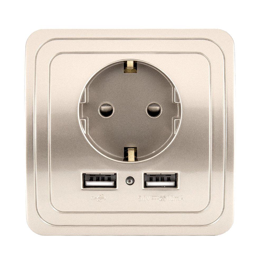 250/V EU toma de corriente Cargador USB doble sector enchufe el/éctrico de pared con tierra a conexi/ón r/ápida blanco