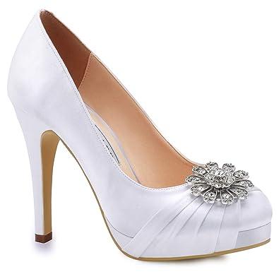 18e12f1b8 Duosheng & Elegant EP2015-PF Women Platform High Heels Court Shoes Closed  Toe Pleated Rhinestones