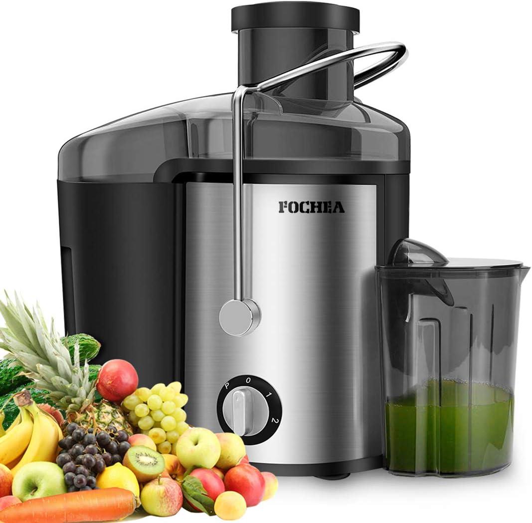 Licuadora para frutas y verduras de acero inoxidable FOCHEA Licuadora centrífuga Juicer 65 mm de ancho de apertura de llenado 3 velocidades con 450 ml de recipiente de zumo y cepillo de
