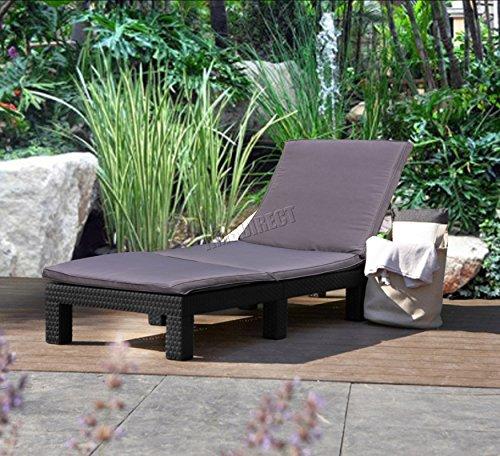 FoxHunter Rattan Day Chair Recliner Sun Bed Lounger Wicker Outdoor Garden Furniture Terrace Patio Grey SRL02